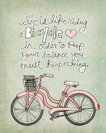 albert einstein, bicycle, keep moving, life, move, pink, text, words