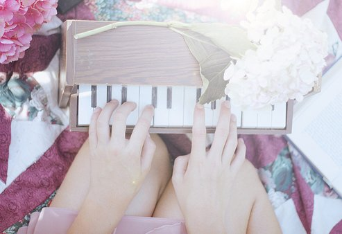 alone, girl, photography, piano