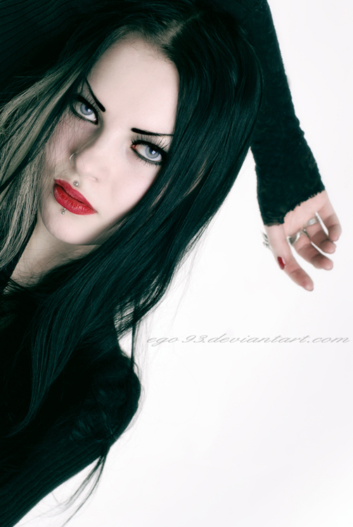 alternative, black hair, blue eyes, goth, gothic