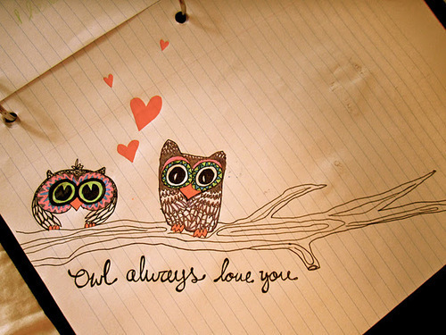 Cute owl love drawing - photo#7