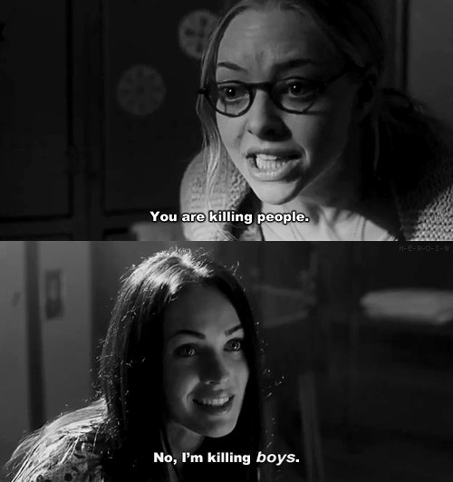 amanda seyfried, black and white, boys, jennifers body, killing, megan fox, movie, people