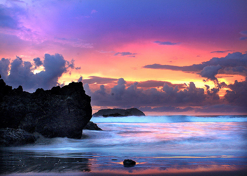 Sunset With Sea Wave Tap To See More Breathtaking Beach: Amazing, Beach, Beautiful, Cloud, Clouds
