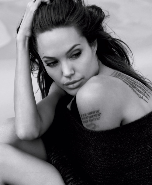 angelina jolie, black and white, tattoos