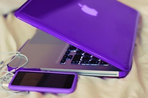 apple, iphone, notebook, purple