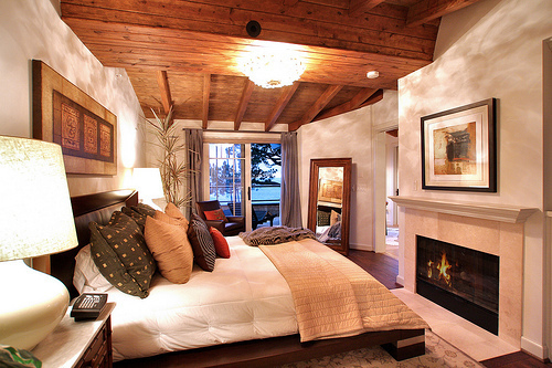 architecture, bed, bedroom, decor, fireplace