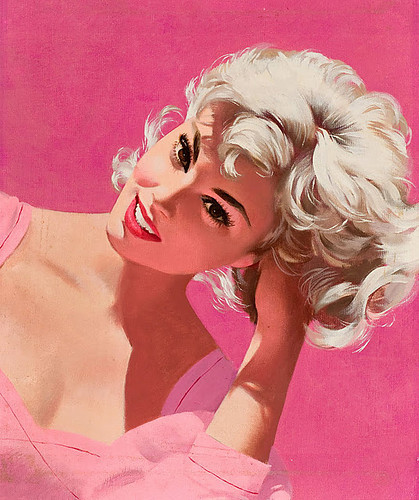 art, beautiful, blonde, eyes, girl, hair, love, pin up, pink, pinup, retro, vintage