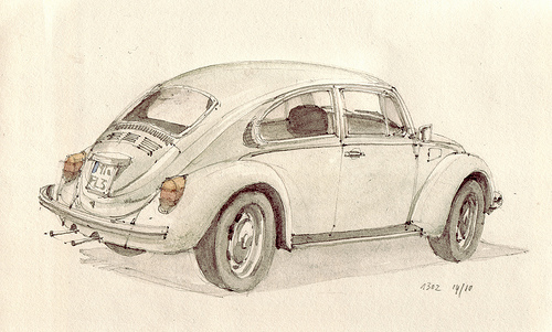 art, beetle, bug, car, retro, vintage