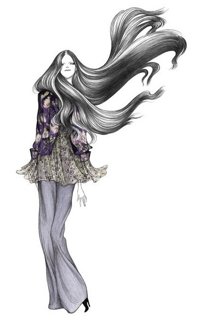 art, black, clothes, drawing, fashion, girl, gray, hippie, purple, white