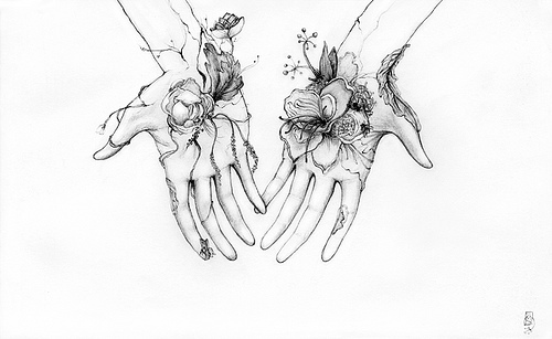 Art drawing flower girly hand image 245790 on for Tumblr hand drawings