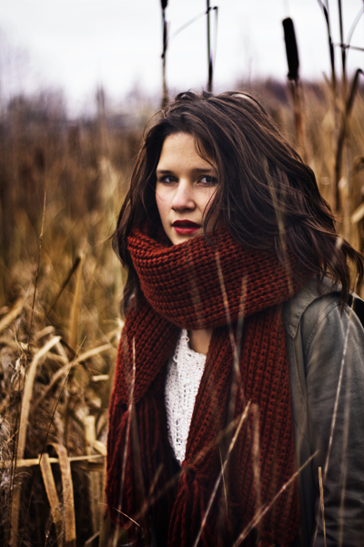 autumn, beautiful, beauty, brunette, cold, fall, girl, green, inspiration, lips, photography, portrait, red, red lips, scarf, warm, white