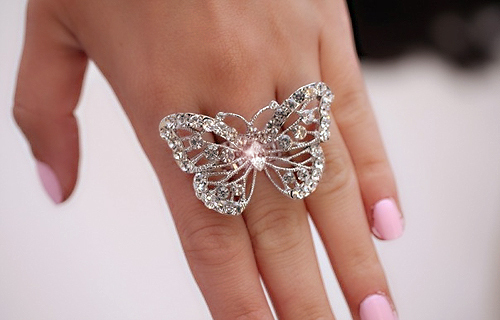awful manicure, butterfly, fashion, girl, girly