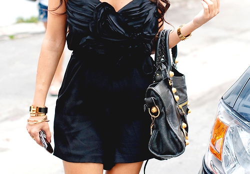 bag, beautiful, black, bracelet, clothes, dress, fashion, outfit, phone, pretty