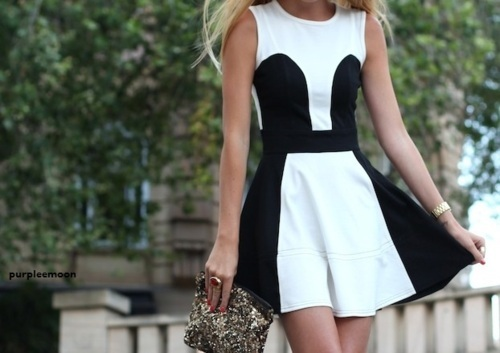 bag, black, black and white, blonde, cute