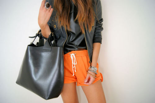 bag, black, bracelets, brunette, fashion, girl, jacket, jewellery, long hair, orange, outfit, ring, shorts, street chic, style, tan