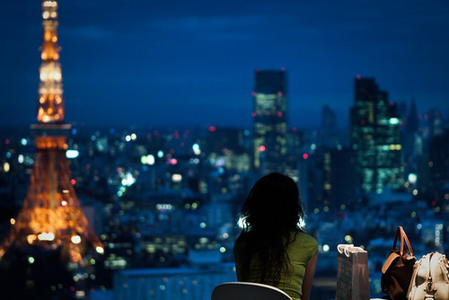 bags, beautiful, buildings, city, fashion, girl, light, lights, night, photography, sad, sadness