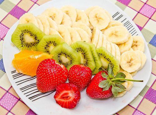 banana, colours, delicious, food, fruits, healthy, kiwi, orange, strawberry, vitamins