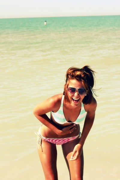 beach, bikini, brunette, girl, hair, happy, laugh, laughing, laughter, ocean, sea, smile, summer, surf, tan, thin, thinspiration, wave