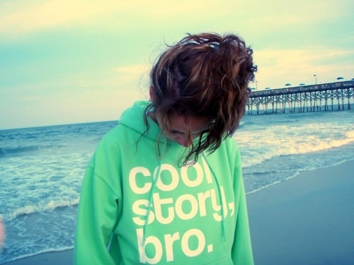 beach, cool story bro, girl, green, pullover