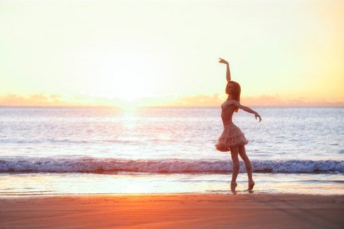 beach, dancing, dress, girl, lonely