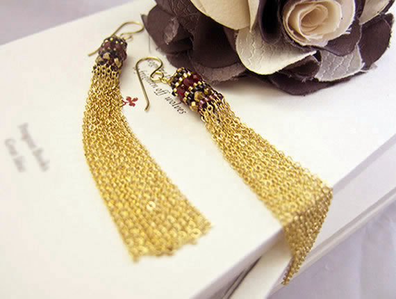 beaded, black, bronze, earrings, fashion