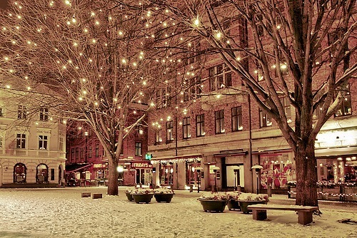 beautiful, bench, building, christmas, lights, outdoors, scenary, snow, tree, winter