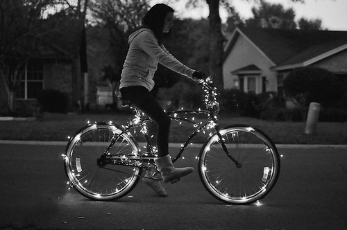 beautiful, bike, black and white, girl, lights