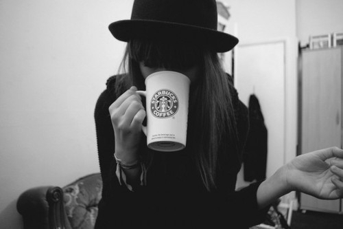 beautiful, black and white, coffee, cup, girl