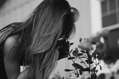 beautiful, black, black and white, cute, flowers, girl, hair, love, rose, roses, white