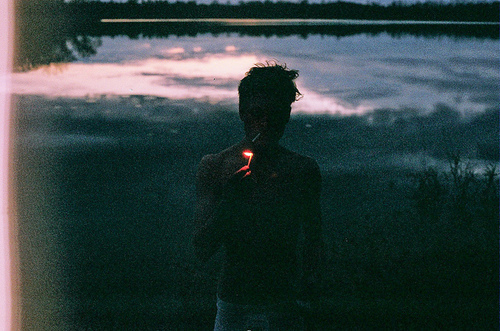 beautiful, boy, cigarette, cute, film grain, fire, grain, guy, indie, lake, light, match, night, smoker, smoking, topless, water
