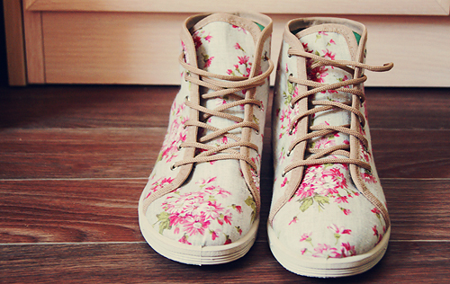 beautiful, brown, color, fashion, floral, floral print, flower, flowers, green, photo, photography, pink, shoe, shoes, white, wood