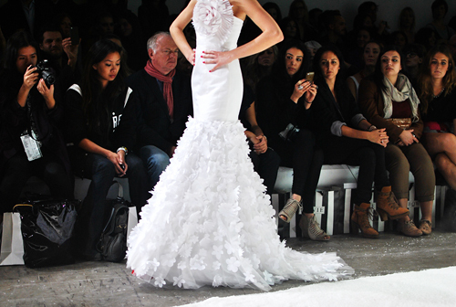 beautiful, catwalk, dress, fashion, gorgeous, gown, luxury, model, people, ruffles, runway, white