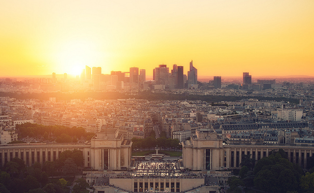 beautiful, city, paris, sunset