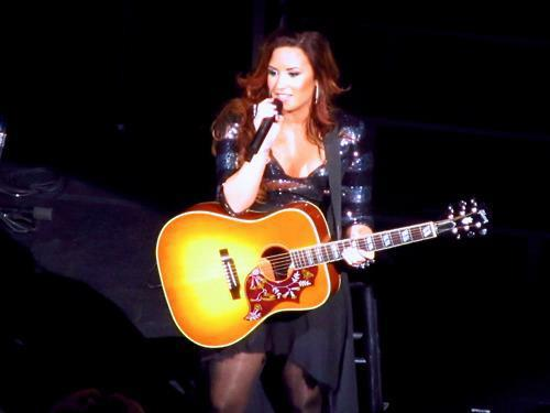 beautiful, concert, demi lovato, fuckin perfect, guitar