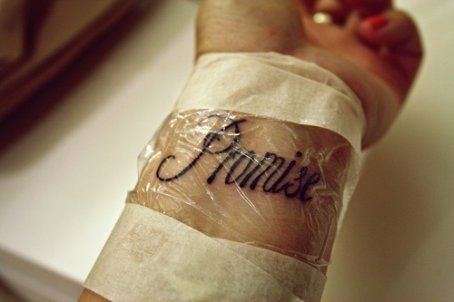 beautiful, cute, girl, hand, hurt, lovely, pain, promise, quote, tattoo, text, wrist