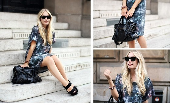 black bag, black glasses, black heels, blonde, blue dress