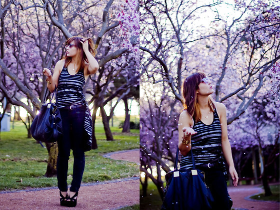 black bag, black heels, blouse, blue, brown, brown hair, cute, fashion, girl, glasses, glitter, photography, qesenq, style, trees, violet
