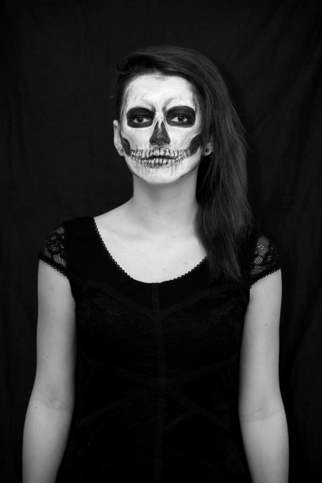 black, black and white, dark, girl, skeleton