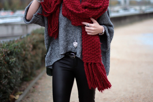 black pants, girl, grey pullover, outfit, scarf