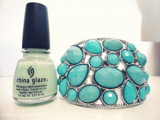 blog, bracelet, china glaze, coventeur, cute, fashion, forever 21, green, jewellery, jewelry, nail polish, pretty, raining serenity, refresh mint, tiffany, turquoise