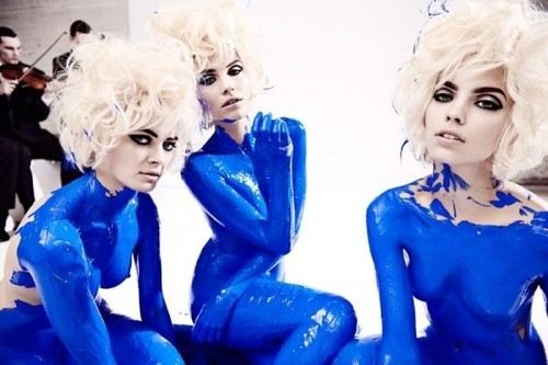 blonde, blue, body paint, bright, editorial