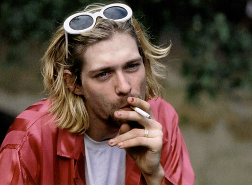 blonde, cigarette, eyes, grunge, kurt cobain
