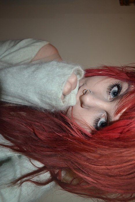 body, cool, fashion, girl, hair, modification, piercing, red, style