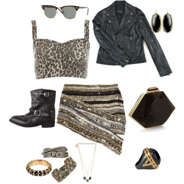 boots, clutch, fashion, jacket, leather jacket, polyvore, ray-ban, ring, style