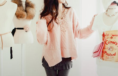bright, fashion, fur, girl, hair, knitted, necklace, pink, pretty, pursue, skirt, sweater