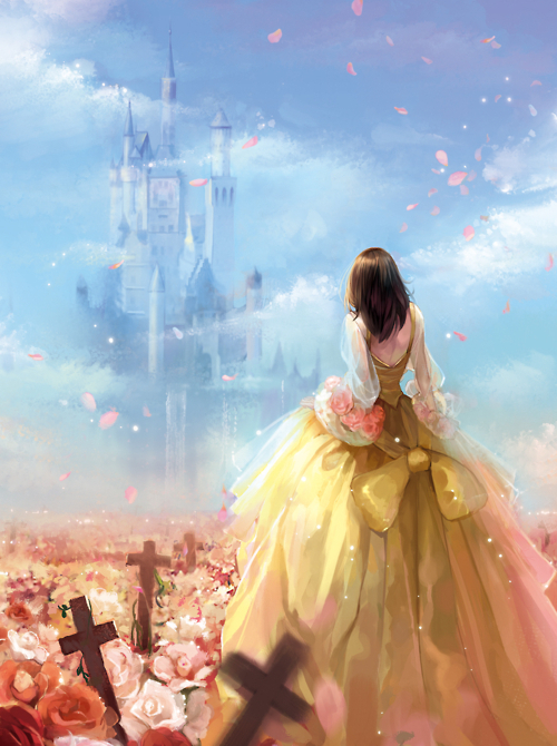 castle, cross, fairy tale, flowers, princess
