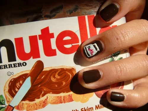 chocolate, nail art, nails, nutella, nutella nails