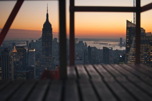 city, empire state building, new york, orange, photo