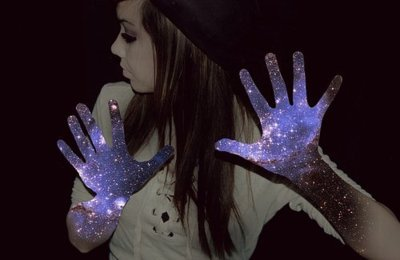 creative, girl, hands, sparkle, stars