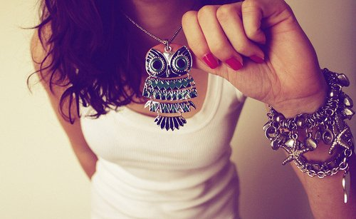 cute, eule, fashion, girl, jewels