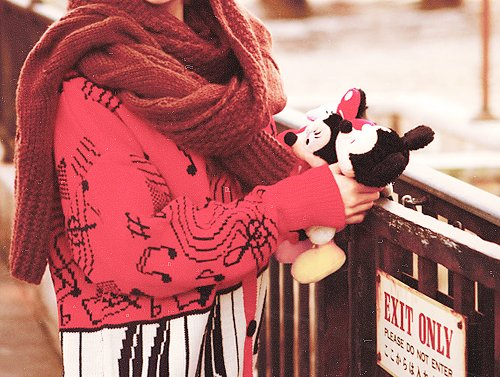 cute, fashion, girl, knitted, mickey mouse
